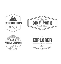 Set of outdoor explorer family camp badge logo vector