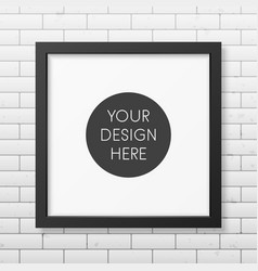 Realistic square black frame on the brick wall vector