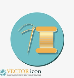 Spool of thread and needle a symbol of fashion vector