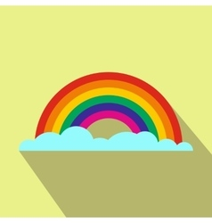 Rainbow flat icon with shadow vector