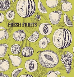 Seamless pattern with fruits on light green vector