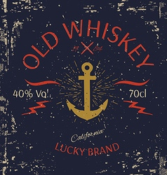 Whiskey label design t-shirt print vector
