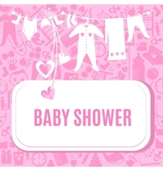 Baby shower card in pink color vector