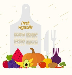 Fresh vegetables organic food elements and icons vector
