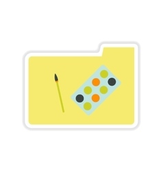 Paper sticker on white background folder paint vector