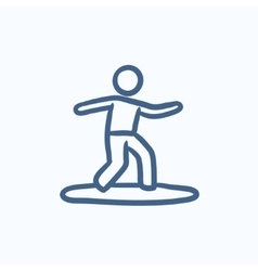 Male surfer riding on surfboard sketch icon vector