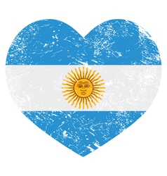Argentina retro heart shaped flag vector