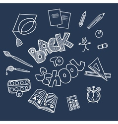 Back to school supplies doodles vector image
