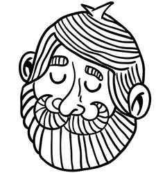 black and white man with beard vector image