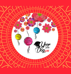 Chinese new year pattern background with lantern vector