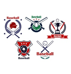 Colored Baseball emblems and badges vector image vector image