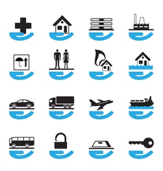 Diverse insurance icons set vector image vector image
