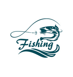 fishing sport emblem vector image vector image