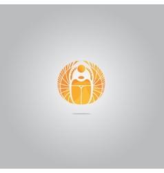 gold scarab logo vector image