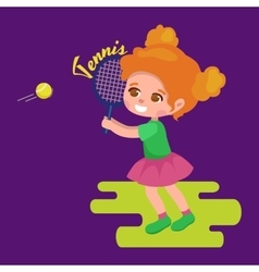 Happy girl playing tennis kids sport childrens vector