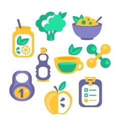 Healthy lifestyle objects set vector