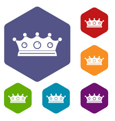 Jewelry crown icons set hexagon vector