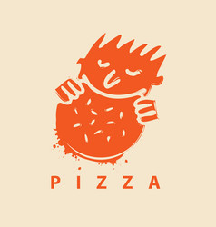 logo for pizza restaurant with man who eats pizza vector image