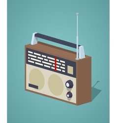 Low poly retro radio set vector