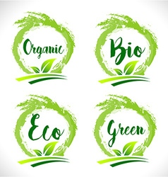 Natural organic bio badge logo vector