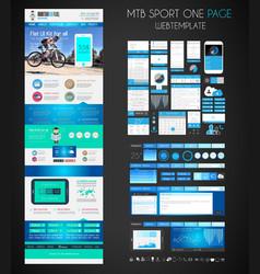 One page sport website flat ui design template vector