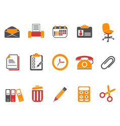 orange office and documents icons set vector image vector image