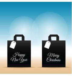 Paper bag with happy new year set on it vector