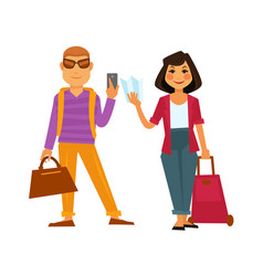 People travel flat icons man and woman on vector