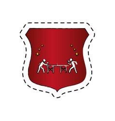 Ping pong player avatar shield vector