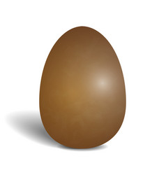 realistic chocolate egg isolated on white vector image vector image