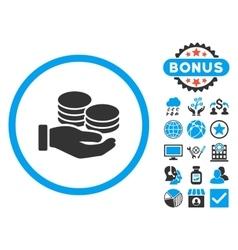 Salary coins flat icon with bonus vector