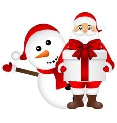 Santa claus with snowman cartoon a gift vector