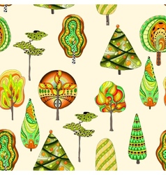 seamless pattern with doodle trees vector image