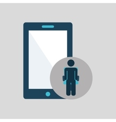 Silhouette sitting business smartphone icon vector