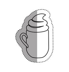 Sticker silhouette mug of cappuccino with cream vector