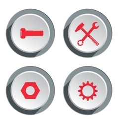 Tool icon set screwdriver cogwheel pliers vector
