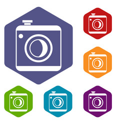 vintage photo camera icons set vector image