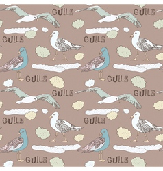 Vintage Seagull Pattern Background vector image vector image