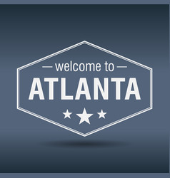 Welcome to atlanta hexagonal white vintage label vector
