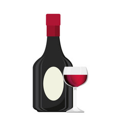 wine cup and bottle isolated icon vector image