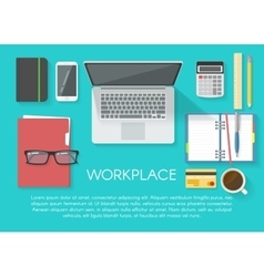 Workspace flat poster vector