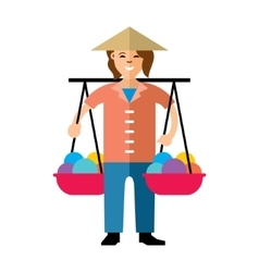 Asian vendor flat style colorful cartoon vector