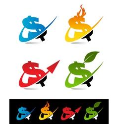 Swoosh Dollar Logo Icons vector image