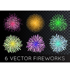 Fireworks set with transparency vector