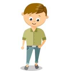 Funny Cartoon Guy With In White Shirt and Black vector image