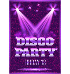 Disco party poster template with shining spotlight vector