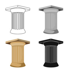 Antique column icon in cartoon style isolated on vector