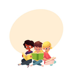 Three children boys and girls reading books vector