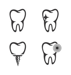 Set of the tooth icons vector