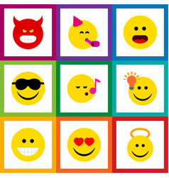 Flat icon face set of angel party time emoticon vector